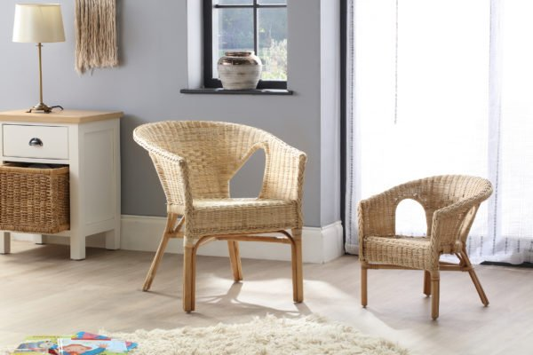 Adult And Kids Chair Natural Set