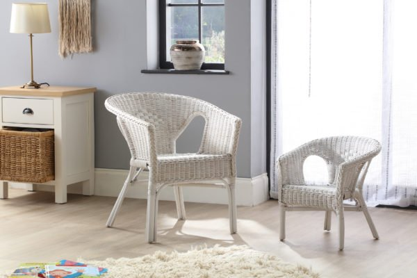 Adult And Kids Chair White Set