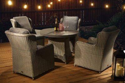 clinton grey 4 seat slate table night set