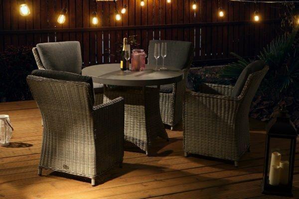 hilton grey 4 seat slate table night set