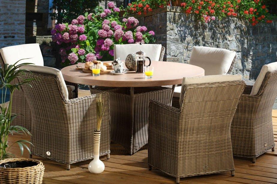 hilton mink 6seater tan table set
