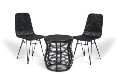 2 black porto dining chairs and royal lamp table