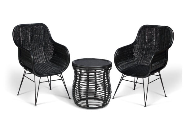 2 black porto occasional chairs and royal lamp table
