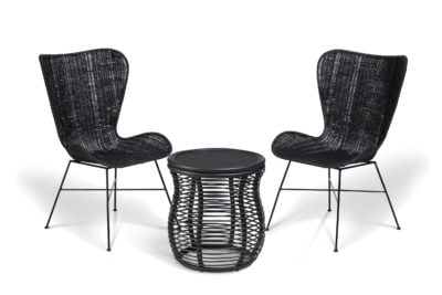 2 black porto wing chairs and royal lamp table