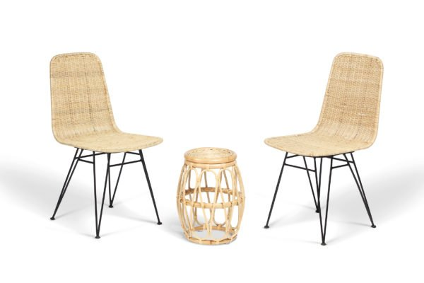 2 natural porto dining chairs and beijing table