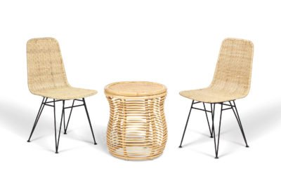 2 natural porto dining chairs and royal table