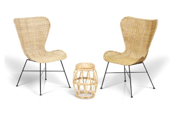 2 natural porto wing chairs and beijing lamp table