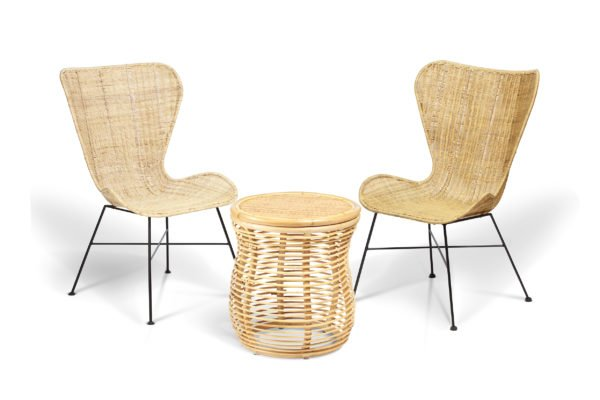 2 natural porto wing chairs and royal lamp table