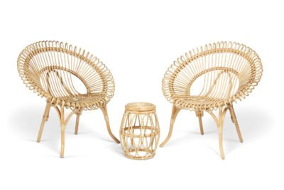 2 natural shanghai chairs and beijing lamp table