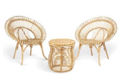 2 natural shanghai chairs and royal lamp table
