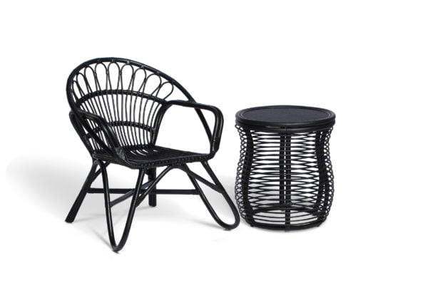 black nordic chair and royal lamp table