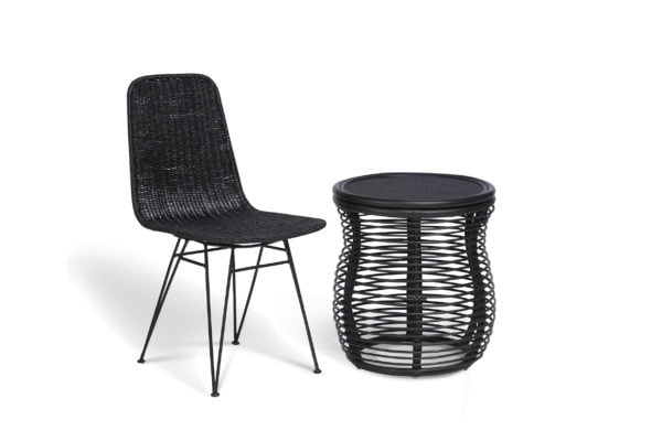 black porto dining chair and royal lamp table
