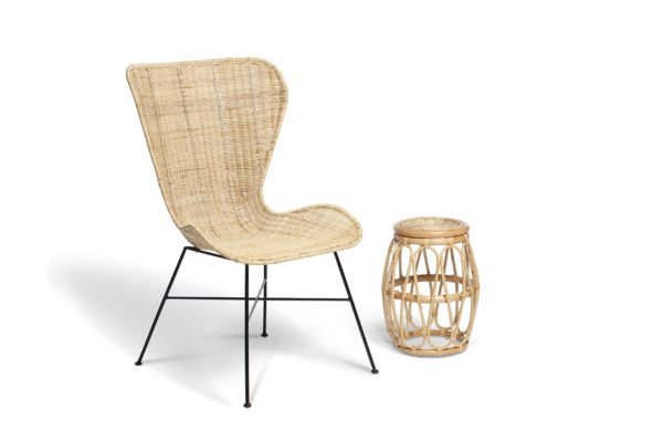 natural porto wing chair and beijing lamp table